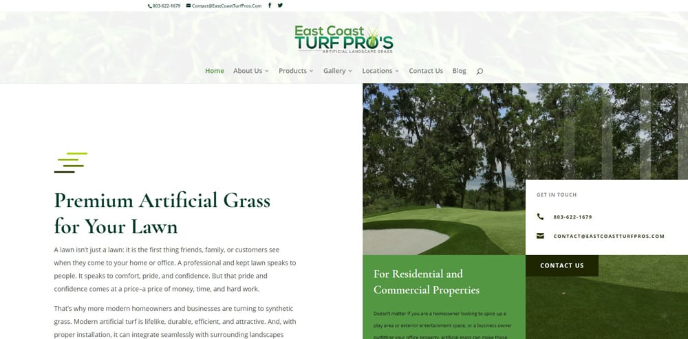 East Coast Turf Pros Website By Cut Throat Marketing
