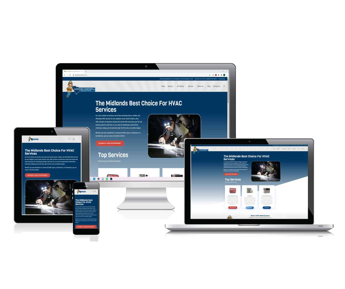 Carolina Comfort's website is mobile optimized because of Cut Throat Marketing