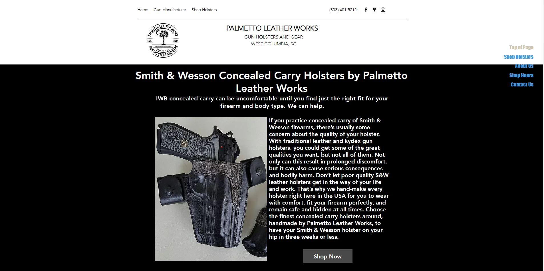Palmetto Leather Works E-commerce Store